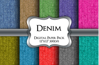 Coloured Denim Digital Paper Pack