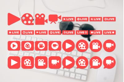 Social Live Stream Icons Set