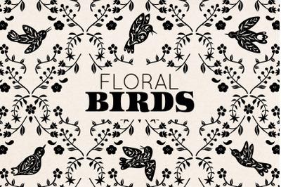FLORAL BLACK BIRD SILHOUETTES