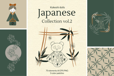 Japanese kokeshi doll linear clipart Collection