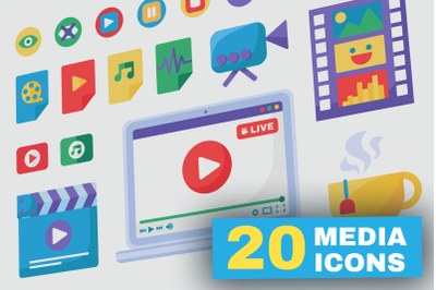 Live Stream Producing Tools Icons Set