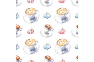 Coffee watercolor seamless pattern