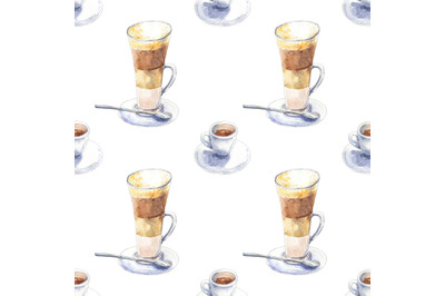 Coffee watercolor seamless pattern with latte and espresso