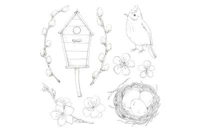 Spring set hand drawn in pen ink