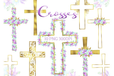 Watercolor Easter gold Cross Clipart Floral crosses digital card