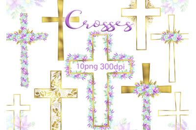 Watercolor Easter gold Cross Clipart Floral crosses digital card