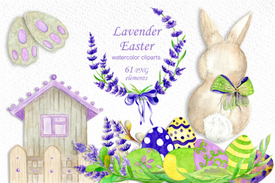 Easter watercolor clipart with bunny, lavender and eggs