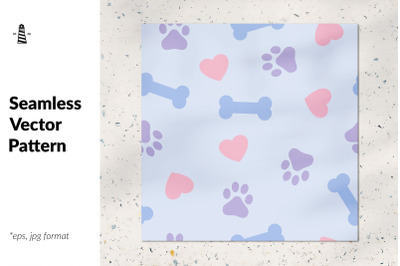 Dog paw bone seamless pattern