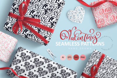 Valentine`s Hand Drawn Seamless Patterns
