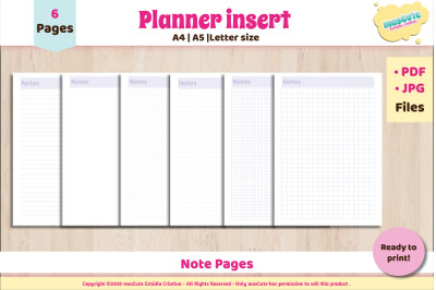 Printable Note Pages Set , Planner Inserts letter A5 A4