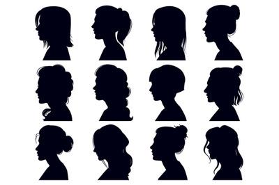 Female head silhouette. Women faces profile portraits, adult female an