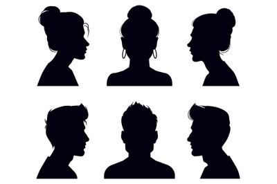 Male and female head silhouettes. People profile and full face portrai