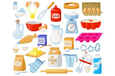 Cartoon baking ingredients. Bakery ingredients, baking flour, eggs, bu