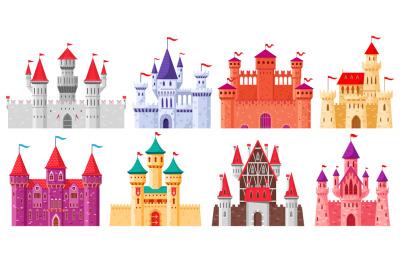 Cartoon medieval castles. Fairytale medieval towers,