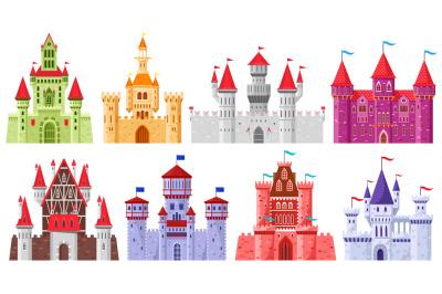 Fairytale medieval towers. Cartoon royal kingdom towers, old ancient m