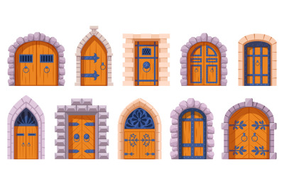 Castle medieval doors. Cartoon ancient fortress wooden gates, medieval