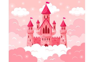 Cartoon fairy tale pink castle. Magic fairytale medieval tower, prince