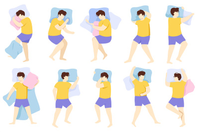 Man sleeping position. Adult male character healthy night sleep pose,