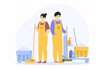 Cleaning service characters. Professional cleaner workers, domestic ho