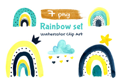 Rainbows Watercolor Baby First Nursery Clipart