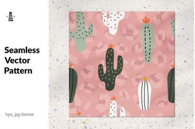 Wild cactus seamless pattern