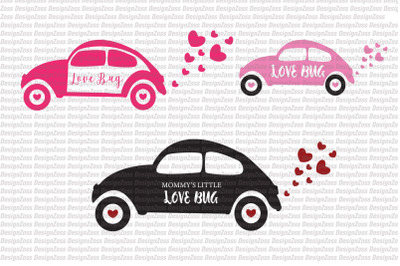 Love bug cars svg file | Valentine's Day svg | Valentine SVG