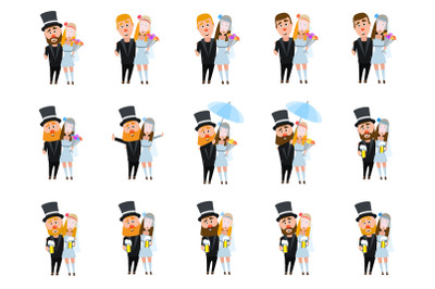 Newlywed characters. A set of characters on a wedding theme