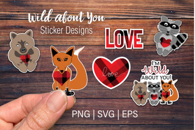 Wild about you Sticker designs | Valentine svg cut file