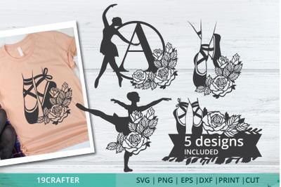 5 Ballet and Ballerina SVG Design bundle cut file