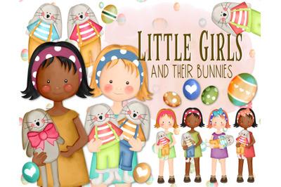 Little Girls and their Bunnies