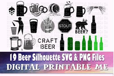 Beer svg, silhouette bundle, 19 images, Alcohol, adult beverage, mug,