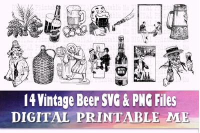 Beer svg, silhouette bundle, 14 images, Alcohol, adult beverage, mug,