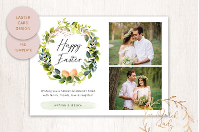 PSD Easter Photo Card Template #5