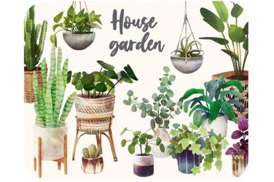 20 Plants botanical cliparts -Boho cactus clipart