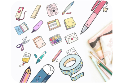 20 Planner kawaii doodle brush bookmark washi tape clipart