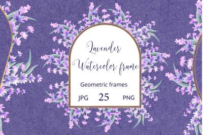 Lavender sprigs. Watercolor frames