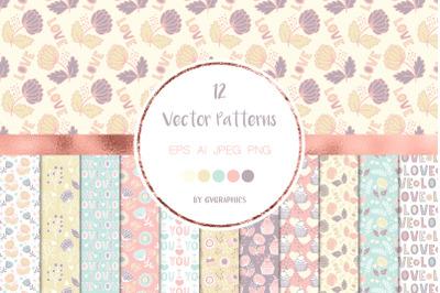 12 Happy Valentine's Day Vector Patterns