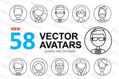 58 profile avatars line icons people