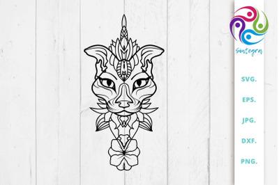 Abstract Cat Mandala SVG