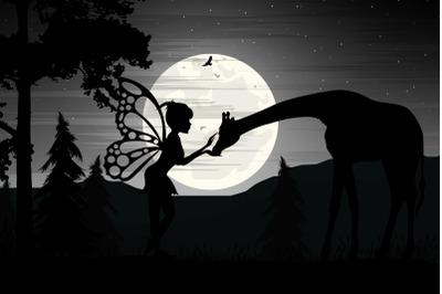 fairy and giraffe silhouette