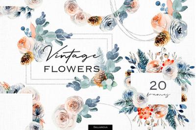 Vintage floral frames set