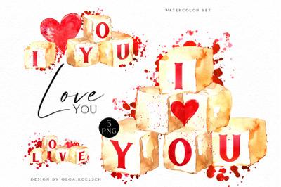 Watercolor valentine clipart, Cute valentine's cards DIY, Love  heart