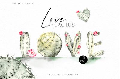 Watercolor cactus  clipart,  Cute cactus png. Love cactus valentine