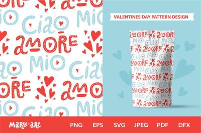 Italian love quotes. Seamless pattern