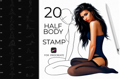 20 Realistic Body Pose Stamps Procreate