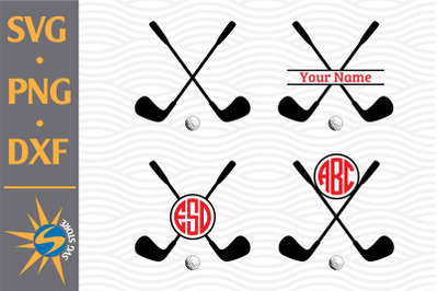 Golf Stick Monogram SVG, PNG, DXF Digital Files Include
