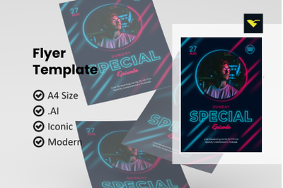 Special podcast promotion flyer template