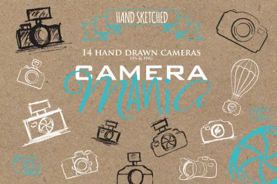 Sketch cameras clipart