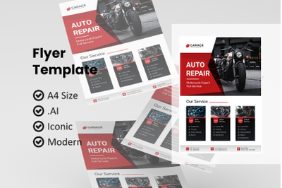 Motorcycle service flyer template