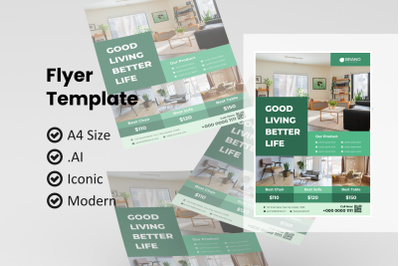 Business furniture flyer template